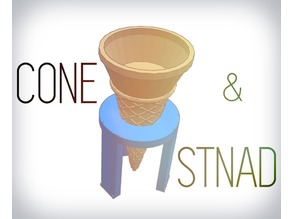 Easily Washable Ice cream Cone + Stand
