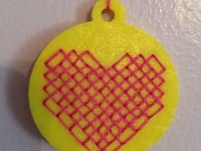 cross stitch pendant heart