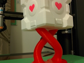 Companion Cube with Hearts and Heart Shaped Helix Stand