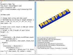 OpenSCAD Bitmap Fonts Module