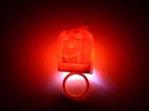 Scanned illuminated jack o lantern ring