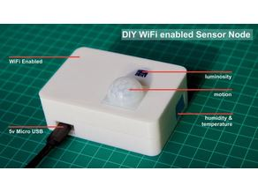 Sensor Node Enclosure for ESP8266 (DHT11, TSL2561, PIR)