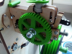 Ultimaker extruder gear upgrade (w/ bigger hex nut hole)