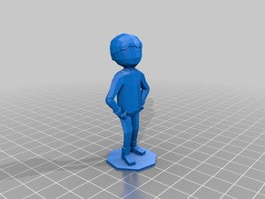 Low poly cowboy without his hat