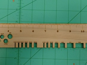 Laser cut ruler, drill bit gauge, thickness gauge (Inches)