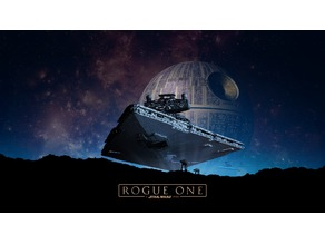 Rogue One Death Star and Imperial Destroyer Lithophane