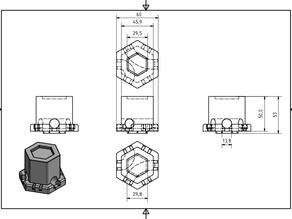 Gravitrax 50mm height block with lanes 120° and 60°