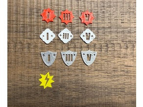 Keyforge Tokens, Double-sided, Armor, Damage, Power, and Stun Tokens