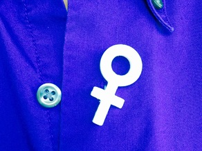 "3D printed - International Woman's Day ""pin"" for buttonhole - ""Venus Symbol"""