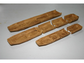 28mm Scale Log Canoe - sections with OpenLock