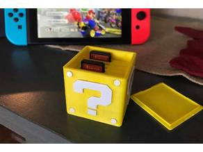 Nintendo Switch game card holder with question mark and Nintendo Switch logo