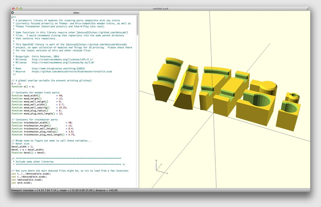 tracklib: OpenSCAD library for rendering toy train parts by