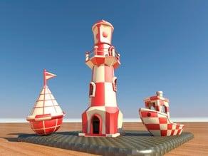 Lighthouse-Buoy-Ship, Dual extruder Test