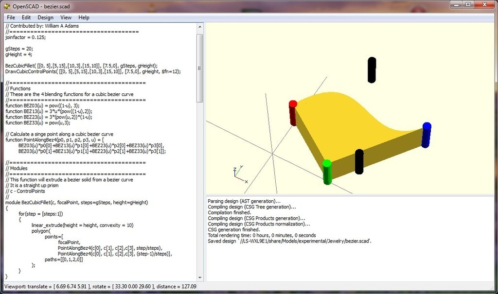 Public Domain OpenScad Bezier Function by WilliamAAdams