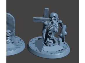 28mm Undead Skeleton Warrior - Climbing out of Grave 2