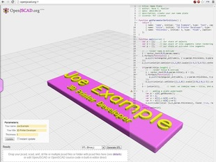 Name Plate Generator (OpenJSCAD)