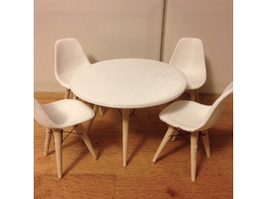 Dolls House Eames Table and Chairs