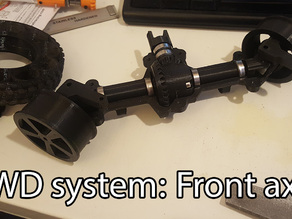 3D printed RC truck V3: Driven front axle