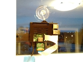 Raspberry Pi B+ Window Mounted Case with Camera Mount - Suction Cup Hanger!