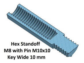 Hex Key Wide 10 mm Standoff 10, 20, 30, 40, 50, 60, 70, 80, 90, 100 mm; M8 Pin M10x10