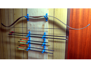 A narrow shelf / mount for a bow and six arrows