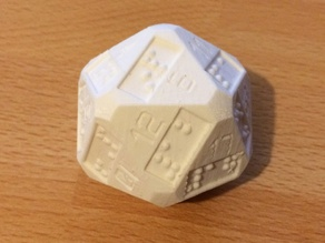 D20 (20 sided dice) with additional braille numbers