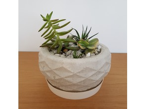Yoshimura Crease Pattern Concrete Planter Short Version
