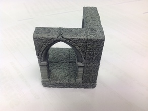 Gothic RPG Tile - 2x2 corner with dual open archway