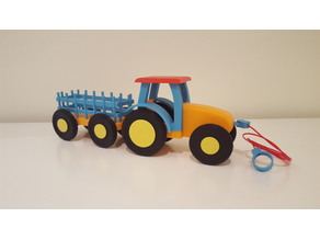 Kids pull toy tractor