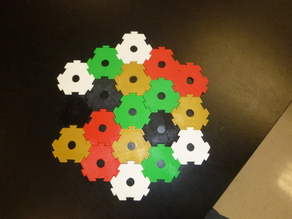 Interlocking hexagons with holes for modular DIY board game