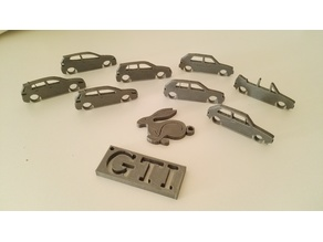 VW Golf evolution set /mk1+cabrio/mk2/mk3/mk4/mk5/mk6/mk6 + GTI + Rabbit keychain