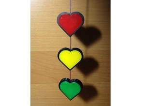 Hearts for rear-view mirror in traffic lights style