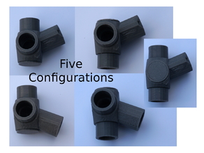 Reconfigurable 22.5 & 45 Degree 3-Way Elbows, 1/2 Inch PVC Pipe Fitting Series #HalfInchPVCFittings UPDATE 2015-07-03