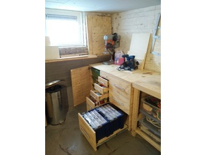Workbench cabinet with drawers