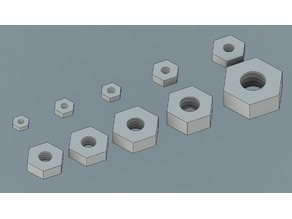 Standard Nuts, f3d, stp and STL files (Size #0 through 5/16in)