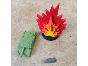 Explosion Markers for Wargames - 25mm Base - 3mm MDF Lasercut