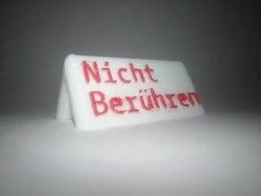 Do not touch sign / Nicht Berühren Schild (German/Deutsch)