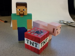 Minecraft - Steve, TNT and Pig