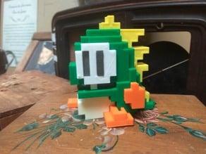 8 bits style Bubble Bobble Dragon - Separate parts (no glue needed)