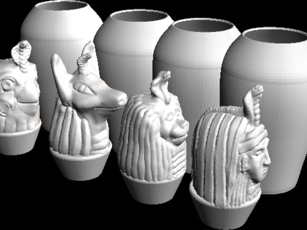 Canopic Jar Set By Cerberus333 Thingiverse