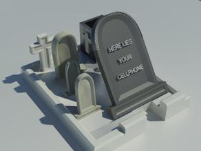 Scary cemetery phone holder