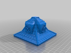 """Shingled Rooftop with Clocks 4"""" x 4"""" for 25/28mm Fantasy Buildings"""
