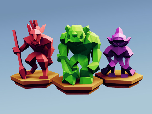 Low Poly Fantasy Tabletop - Horde Base Units
