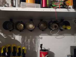 shelf of recycled cans