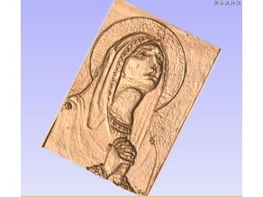Virgin Mary Icon Relief Carving