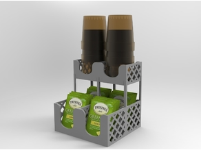 Tea Bag Caddy with Paper Cup [easy to print] - tea bag holder