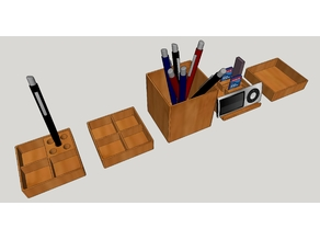 Set accesorios de oficina, bote lapicero, usb, móvil.
