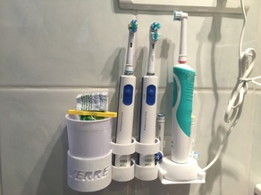 Support mural pour 3 brosses à dents OralB Braun, chargeur et gobelet (Wall toothbrush holder for Oral B)