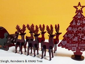Laser cut Christmas Sleigh & Reindeer