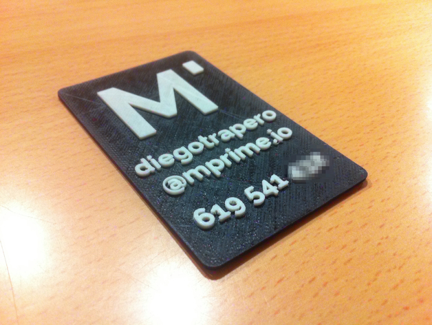 3d printed business card by diegotrap thingiverse reheart Gallery